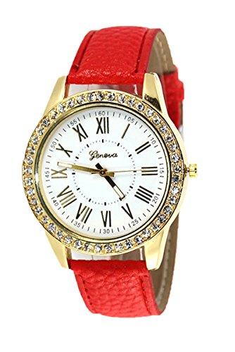 Armbanduhr Geneva Frauen Strass Armbanduhr Rot