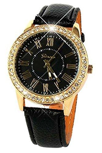 Armbanduhr Geneva Frauen Strass Armbanduhr Schwarz