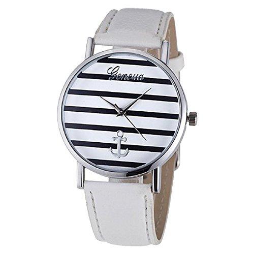 Armbanduhr geneva Gestreifte kleinen Anchors Armbanduhr Silber Weiss
