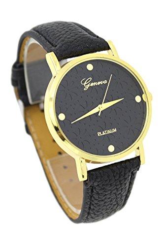 Armbanduhr GENEVA Frauen Kunstleder Blumen laessig Armbanduhr schwarz