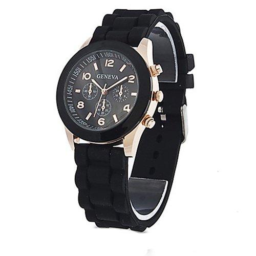 Armbanduhr GENEVA Unisex Silikon Gelee Gel Quarz Analoge Sport Armbanduhr Schwarz