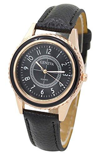 Armbanduhr GENEVA Damen Rose Gold ueberzoges Zifferblatt Armbanduhr Schwarz