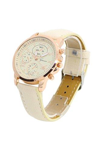Armbanduhr Geneva Unisex Kunstleder Armbanduhr Beige