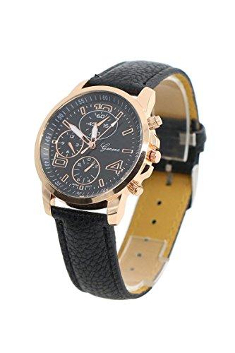 Armbanduhr Geneva Unisex Kunstleder Armbanduhr schwarz
