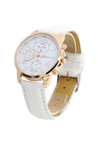 Armbanduhr Geneva Unisex Kunstleder Armbanduhr weiss