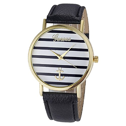 Armbanduhr geneva Gestreifte kleinen Anchors Armbanduhr Gold Schwarz