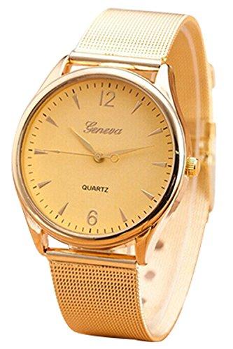Armbanduhr GENEVA Mode Damen Gold Netzband Rund Edelstahl Legierungsarmband Analoge Quarz Armbanduhr Gold