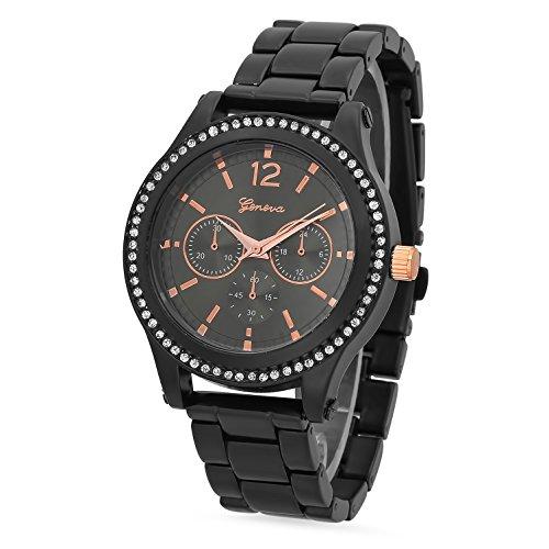 Black Plated Chronograph Style Geneva CZ Bezel Watch w Black Copper Dial
