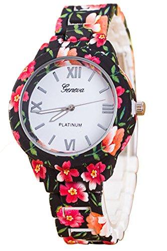 Blumenuhr Geneva Damen Roman Blumenuhr Analog Quarz Kleid Armbanduhr schwarz rot