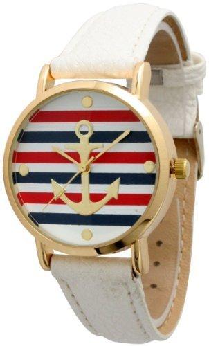 Damen Geneva Multi Farbe Gestreift Anker Leder Armbanduhr weiss