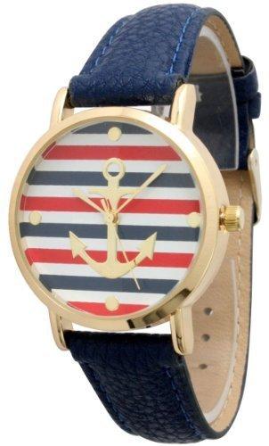 Damen Geneva Multi Farbe Gestreift Anker Leder Armbanduhr Marineblau