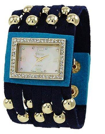 Designer inspiriert Color Block Leder watch blue