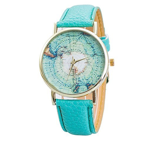 5 Farbe Damen Fashion World Map Muster Casual Quarz Leder Kleid Armbanduhr Mint Gruen Gold