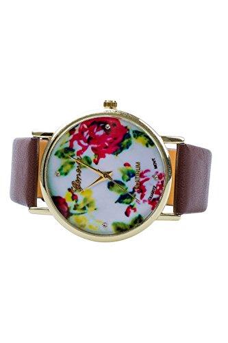 Fashion Kunstleder Genf Geneva Rose Blumen Uhr Armbanduhr braun