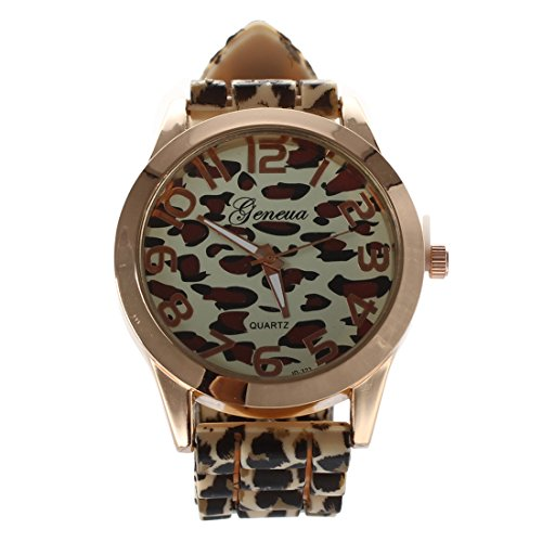 GENEVA Beilaeufige Damen Leopard Gelee Silikon Quarz Armbanduhr gelb golden