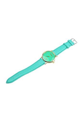Geneva Blumen Kunstleder Band Armbanduhr Mintgruen