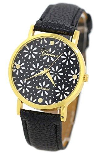 Geneva Blumen Kunstleder Band Armbanduhr schwarz