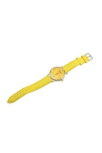Geneva Blumen Kunstleder Band Armbanduhr gelb