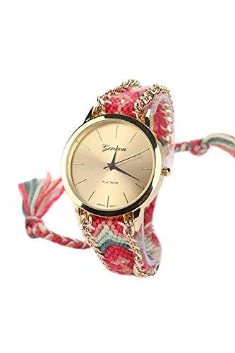 GENEVA Damen Geflochtene Kette Armbanduhr Modell 1