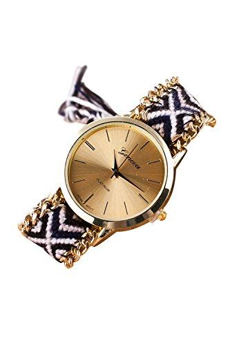 GENEVA Damen Geflochtene Kette Armbanduhr Modell 11