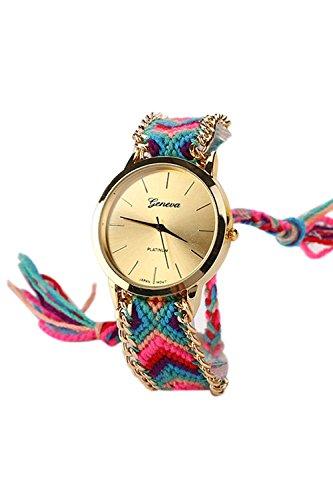 GENEVA Damen Geflochtene Kette Armbanduhr Modell 10