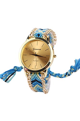 GENEVA Damen Geflochtene Kette Armbanduhr Modell 5