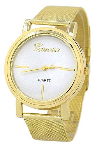 Geneva Netz Edelstahl Armbanduhr golden Armband weiss Zifferblatt