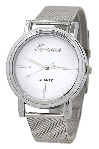 Geneva Netz Edelstahl Armbanduhr Silber Armband weiss Zifferblatt