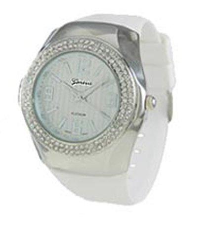 Geneva CZ encirlced Metall Fall Armbanduhr Weiss Silber gehalten