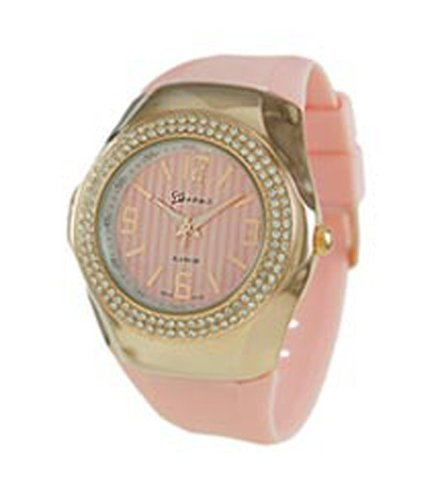 Geneva CZ encirlced Metall Fall Armbanduhr Pink Rose Gold