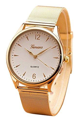 GENEVA Gold Toenung Netz Band runde Zifferblatt Armbanduhr