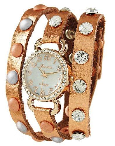 Geneva Designer inspiriert Wickelarmband Leder Armbanduhr Rose Gold