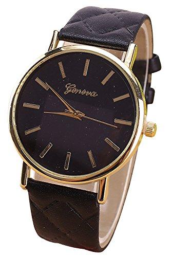 Geneva Kunstleder Quarz analog Armbanduhr schwarz