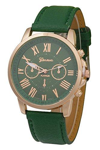 Geneva Kunstleder Armband Armbanduhr Dunkelgruen