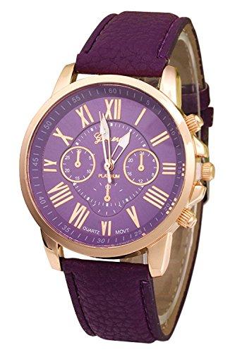 Geneva Kunstleder Armband Armbanduhr lila