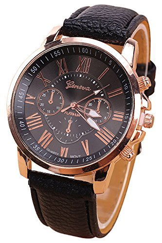 Geneva Kunstleder Armband Armbanduhr schwarz