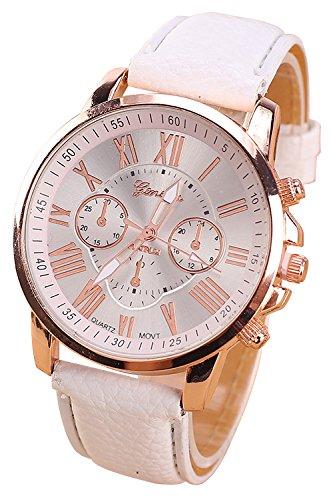 Geneva Kunstleder Armband Armbanduhr weiss