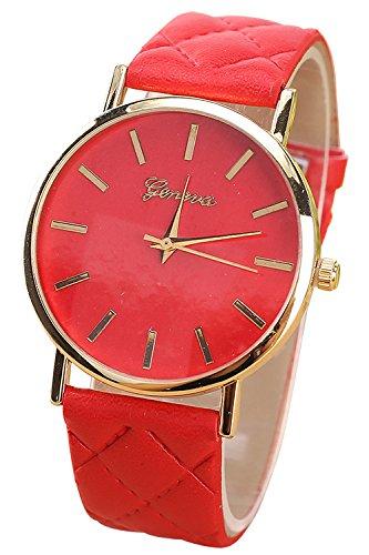 Geneva Kunstleder Quarz analog Armbanduhr rot