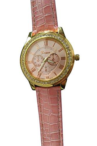 GENEVA Kunstleder Strass Armbanduhr rosa