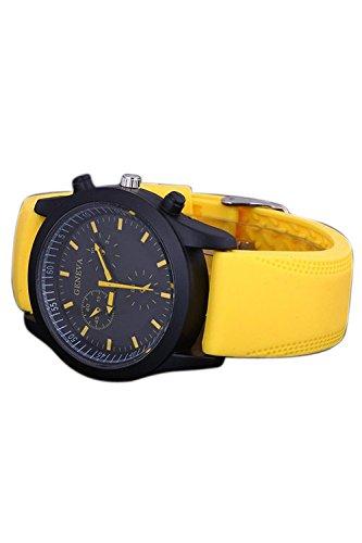GENEVA Coole Maenner Gelber Gummi Buegel Armbanduhr mit schwarzem Zifferblatt