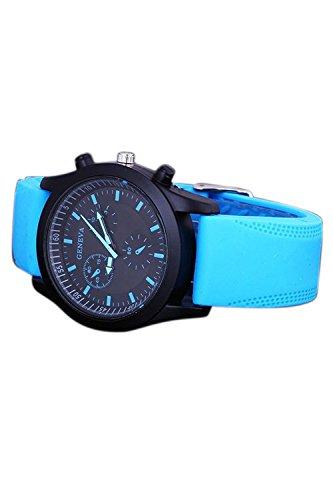 GENEVA Cool Maenner Blauer Gummi Buegel Armbanduhr mit schwarzem Zifferblatt