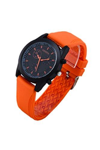 GENEVA Coole Maenner Orange Gummi Buegel Armbanduhr mit schwarzem Zifferblatt