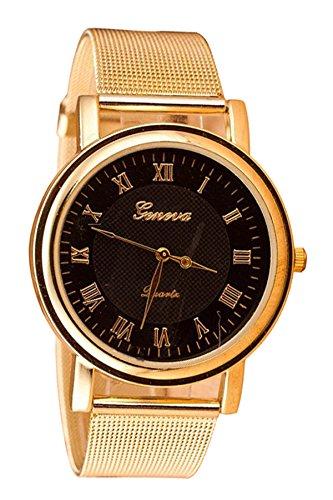 Geneva Netz Band Armbanduhr schwarz Zifferblatt Golden Band