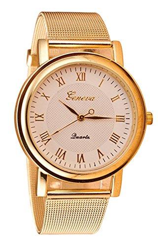 Geneva Netz Band Armbanduhr weiss Zifferblatt Golden Band