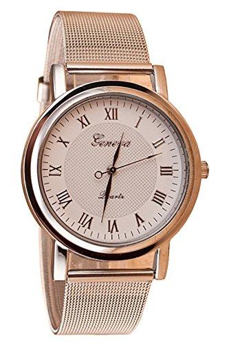 Geneva Netz Band Armbanduhr weiss Zifferblatt Silber Band