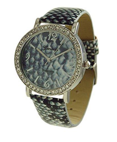Geneva Python Print CZ Encircled Armbanduhr Schwarz