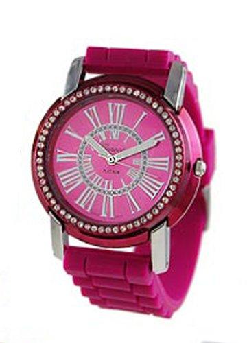 Geneva rund CZ Encircled Silikon Armbanduhr Hot Pink