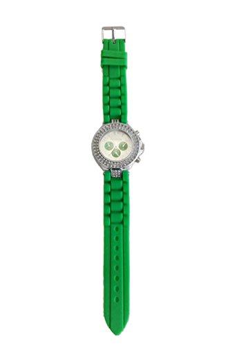 GENEVA Silikon Kristall Quarz Frauen Gelee Armbanduhr Gruen