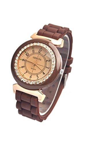 GENEVA Dame Silikon Kristall Stein Quarz Armbanduhr Braun