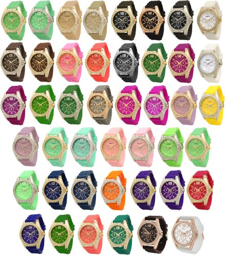 Grosshandel von 10 Damen Geneva Chronograph Style Silikon Armbanduhr